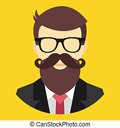 vector, hipster, pictogram