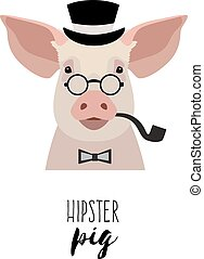 Vector hipster pig wearing glasses, hat bowtie pipe. Flat, cartoon.