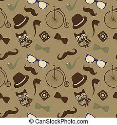 Hipster Retro Vintage Seamless Pattern