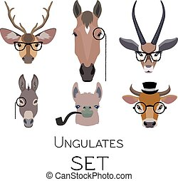 Vector hipster ungulates wearing glasses, monocle, pipe .flat cartoon style