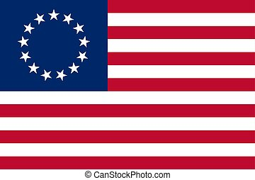 Vector Historical flag - Betsy Ross flag. Historical flag of...