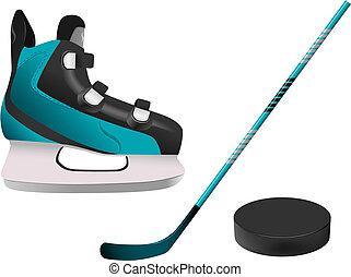 hockey equipment - vector hockey equipment on white ...