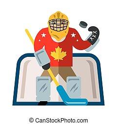 Vector Hockey goalkeeper. Flat style colorful Cartoon illustration.