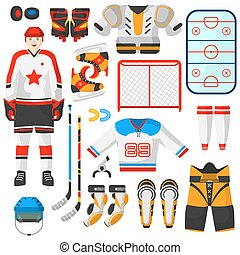 Hockey uniform and accessory set in flat style. Vector Isolated hockey uniform equipment and athlete. Hockey clothes equipment and accessories.