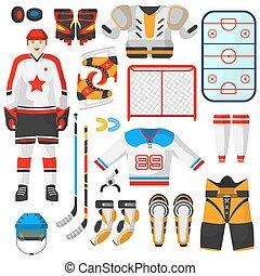 vector, hockey, uniforme, y, accesorio, en, plano, style.