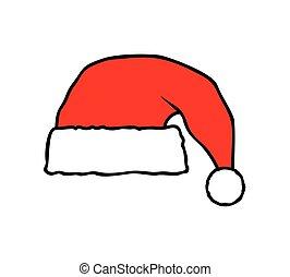 vector, hoedje, kerstman, illustratie