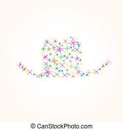 vector, hoedje, pictogram