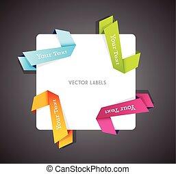 vector, hoek, set, kleurrijke, ribbons.
