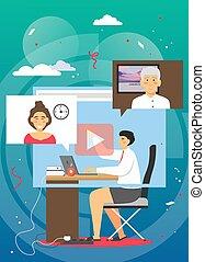 vector, hogar, conferencia, vídeo, plano, ilustración