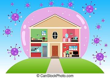 vector, hogar, cuarentena, ilustración, concepto, durante, pandemia