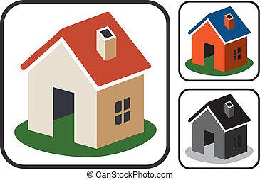 vector, hogar, símbolos