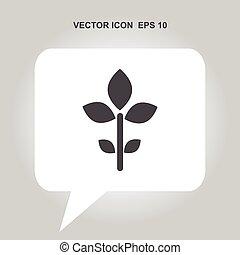 vector, hoja, icono
