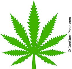 vector, hoja, marijuana, icono