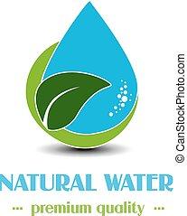 vector, hoja, mineral, símbolo, gota, etiqueta, agua, plano de fondo, natural, blanco