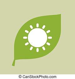 vector, hoja verde, icono, con, un, sol