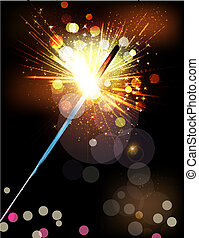 vector holiday background with lit sparklers