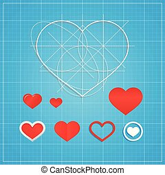 Vector Holiday Card. Hearts on blueprint paper. Valentines day concept