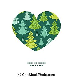 Vector holiday christmas trees heart silhouette pattern frame