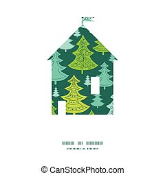 Vector holiday christmas trees house silhouette pattern frame