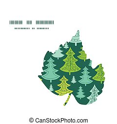 Vector holiday christmas trees leaf silhouette pattern frame