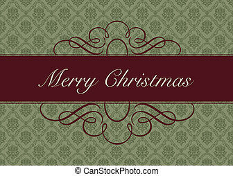 Vector Holiday Damask Background - Detailed Christmas or...