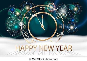 Vector Holiday Fireworks Background with gold old clock. Happy New Year 2018. Sreetings, colorful fireworks design with white snow. Vector illustration