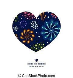 Vector holiday fireworks heart silhouette pattern frame
