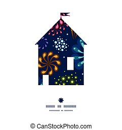 Vector holiday fireworks house silhouette pattern frame