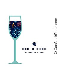 Vector holiday fireworks wine glass silhouette pattern frame