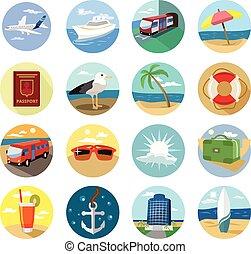 Vector holiday flat icon set