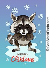Vector holiday illustration of a cute raccoon Christmas Winter greeting card.