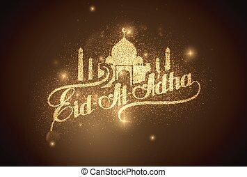 Eid Al Adha shiny label. - vector holiday illustration of ...
