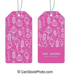 Vector holiday lanterns line art vertical stripe frame pattern tags set