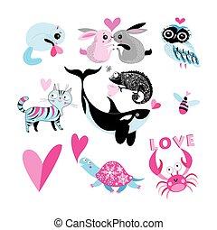 Vector holiday set of enamored animals