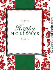 Vector holiday frame with sample text and pattern. Perfect as invitation or announcement. Pattern is included as seamless swatch. All pieces are separate. Easy to change colors and edit.