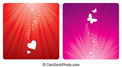 Vector holidays design - Hearts & butterflies