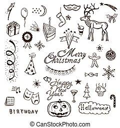 Vector Holidays doodle set