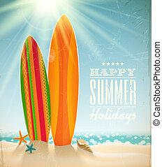 Vector holidays vintage design - surfboards on a beach...