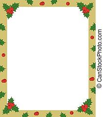 vector holly berry green and red on golden christmas frame border for greeting card photo or invitation copy space