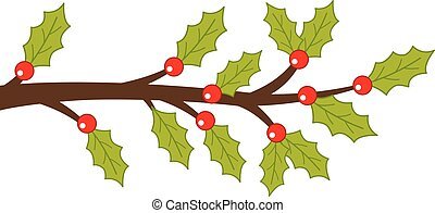 Vector Holly Branch with Green Leaves and Red Berries