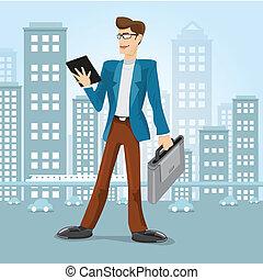 vector, hombre de negocios, en, ciudad