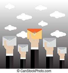 vector, hombre de negocios, envelope., tenencia, ilustración