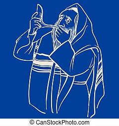 vector, hombre, judío, rezando, puesto, tfilin., ilustración