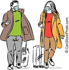 vector, hombre, viaje, pareja, ilustración, concepto, mujer