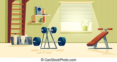 Vector home gym with barbell, climbing frame