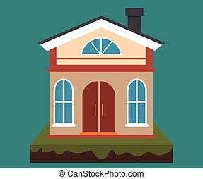 Vector home, house rental and real estate in flat cartoon style with house illustration