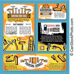 Vector home repair sketch work tools poster - Home repair...