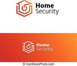 Vector home security service minimalistic logo.