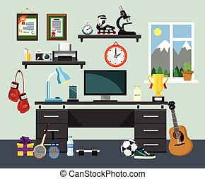 Vector home workplace illustration