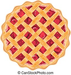 vector homemade fruit and berry pie